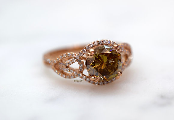 14K Rose Gold 2.34 Cognac Diamond Engagement Ring