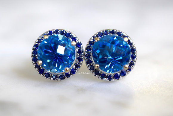 14K White Gold Swiss Blue Topaz And Sapphire Stud Earrings