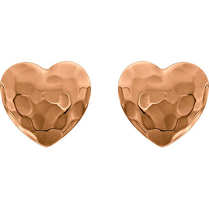 Any Color 14K Gold Hammered Heart Studs