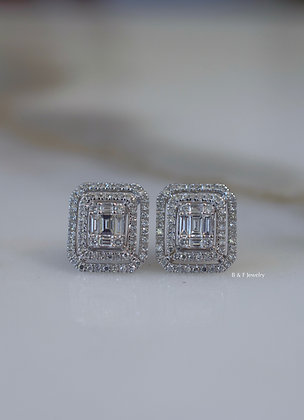 14K White Gold Diamond Double Halo Studs