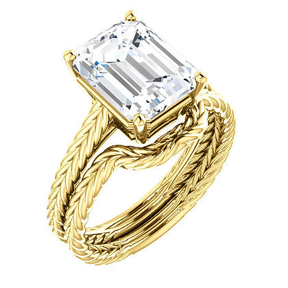Any Color 14K Emerald Cut White Topaz Bridal Set