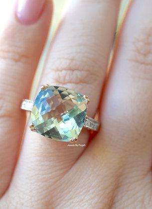 14K Rose Gold 6.95 Carat Green Amethyst And Diamond Ring