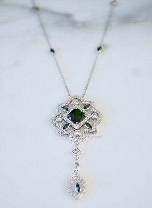 14K White Gold Green Tourmaline And Diamond Necklace- Has Matching Earrings/Ring
