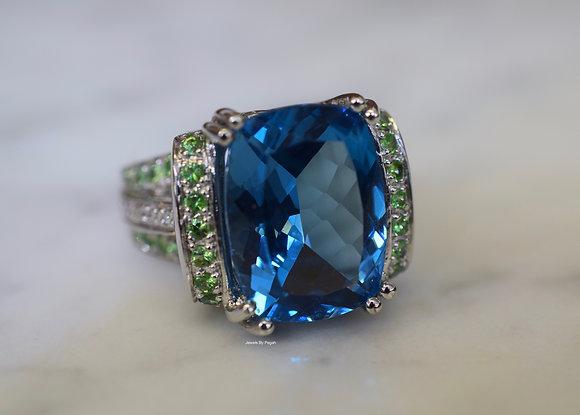 14K White Gold London Blue Topaz And Tsavorite Ring