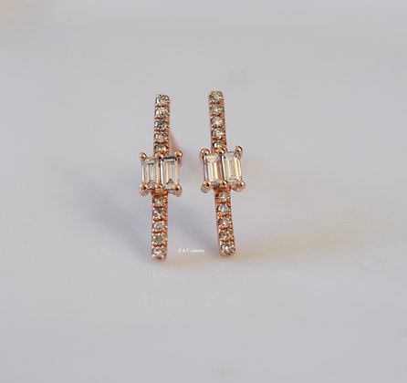 14K Rose Gold Diamond Bar Earrings