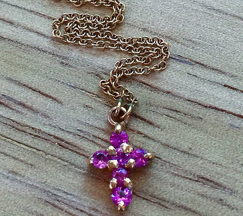 Any Color 14K Gold Pink Sapphire Cross Necklace