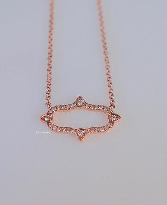 Vintage Inspired 14K Rose Gold Diamond Necklace
