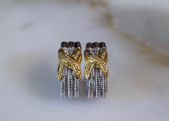 14K Bi-color Gold Cable Style J-Hoop Diamond Earrings