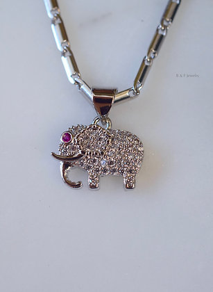 White Gold Plated Diamond And Ruby Inspired Elephant Pendant With 2 Chain Style