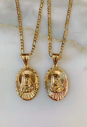 Yellow Or Tricolor Gold Plated Jesus Necklace