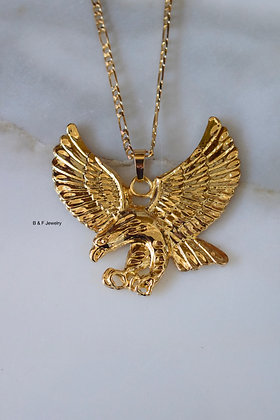 18K Gold Dipped Large Eagle Pendant On Chain