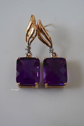 14K Yellow Gold Emerald-Cut Amethyst And Diamond Drop Earrings