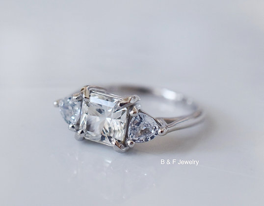 3 Stone Moissanite And White Sapphire Ring With Matching Band