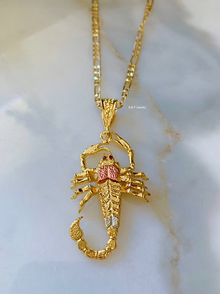 Tri-Color 18K Gold Dipped Flexible Scorpion Necklace