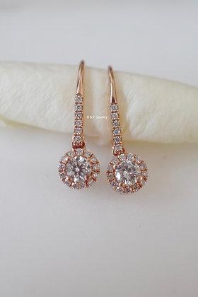 14K Rose Gold Halo Diamond Drop Earrings