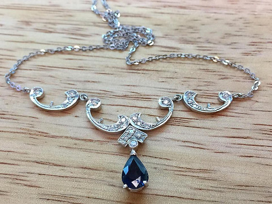 Vintage Style Sapphire And Diamond Necklace