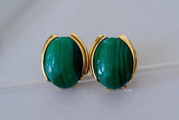 Vintage 14K Gold Malachite Earrings