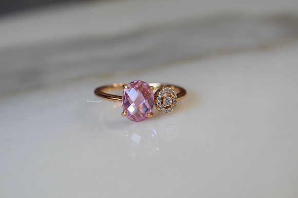 Rose Gold Plated Pink And White Bypass Ring