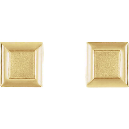 Any Color 14K Gold Square Stud Earrings- Triangle Version Available As Well