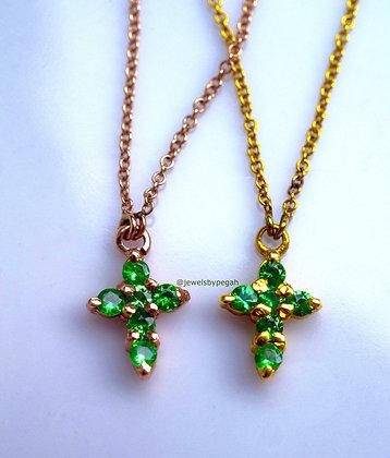 Any Color 14K Gold Tsavorite Cross Necklace