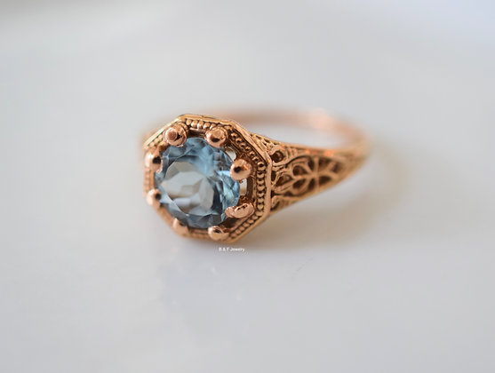 Vintage Style Rose Gold Aquamarine Ring