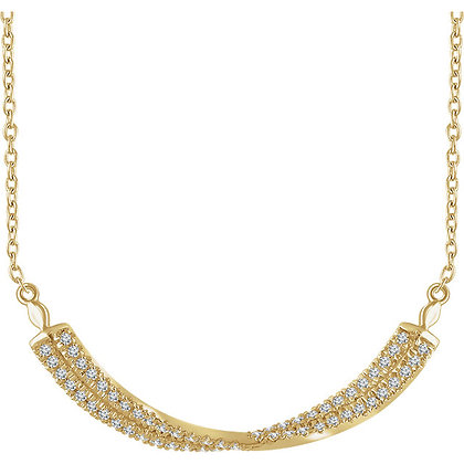 Any Color 14K Gold Diamond Twisted Bar Necklace