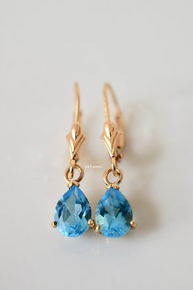 14K Gold Pear Shape Swiss Blue Topaz Earrings