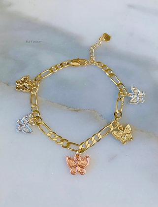 Tricolor Butterfly Charm Bracelet