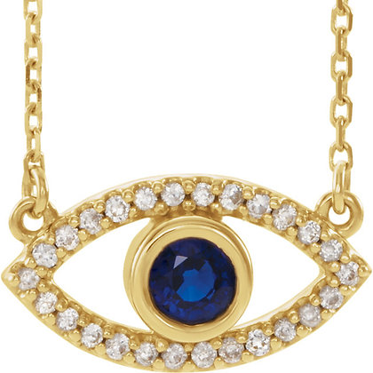 Any Color 14K Gold Blue & White Sapphire Evil Eye Necklace