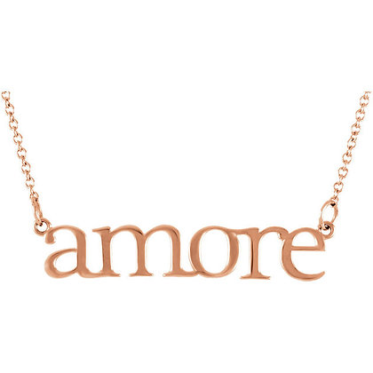 Amore Script Love Necklace: Any Color 14K Gold