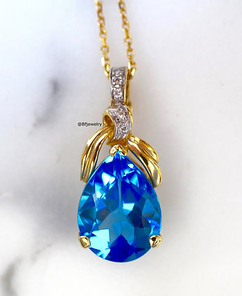 9.36 Carat Swiss Blue Topaz And Diamond Necklace
