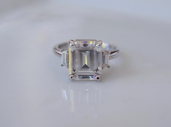 Any Color 14K Gold 4.50 Carat Emerald Cut Moissanite Ring