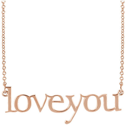 Love You Script Necklace: Any Color 14K Gold