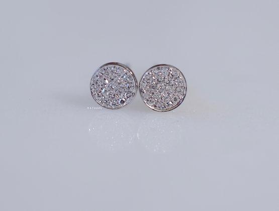 14K White Gold Round Diamond Disk Stud Earrings