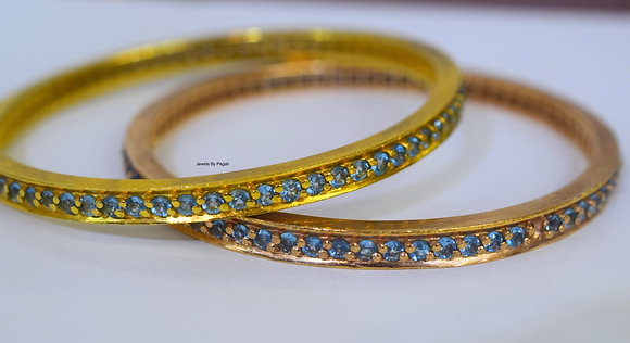 Any Color 14K Gold Sky Blue Topaz Bangle