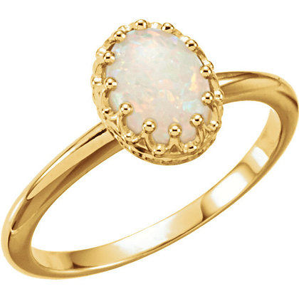 Any Color 14K Gold Oval Opal Cabochon Ring