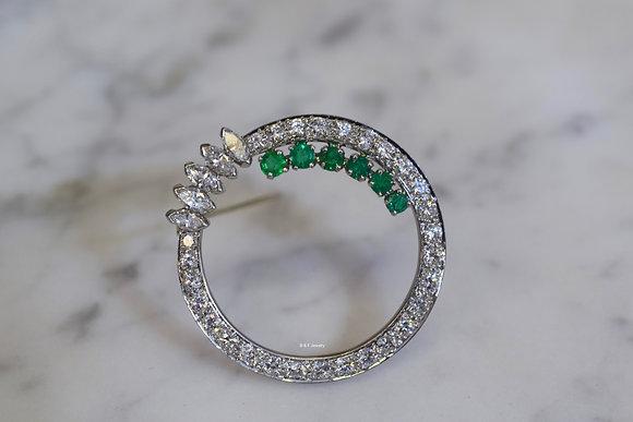 Platinum Diamond And Emerald Circle Brooch Platinum Diamond And Emerald Circle B