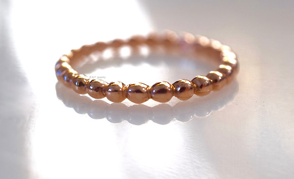 14K Rose Gold Stackable Beaded Band- Available In Other Colors