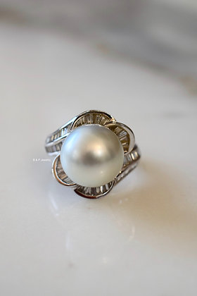 Platinum Baguette Diamond And Cultured Pearl Ring