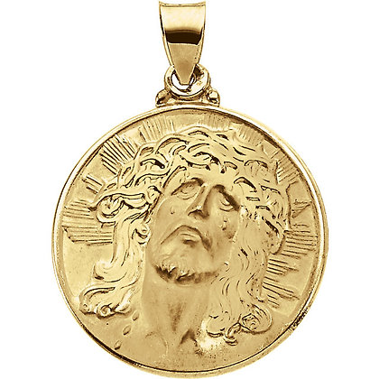 14K White Or Yellow Gold Jesus Necklace