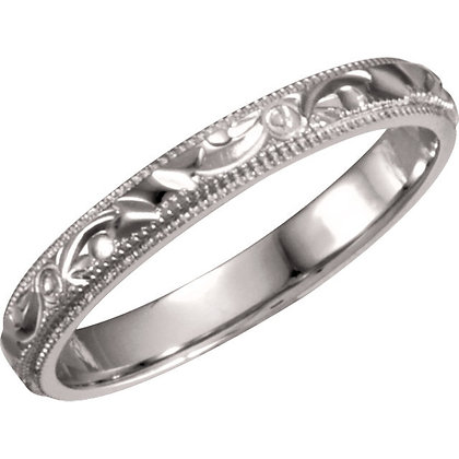 14K White Gold Hand Engraved Ladies Wedding Band
