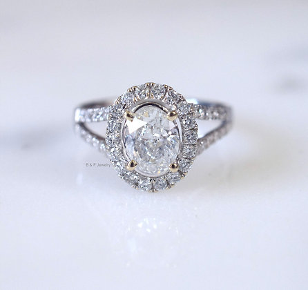 Oval Split Shank Halo Diamond Engagement Ring Setting- 1000s Of Stones To Choose