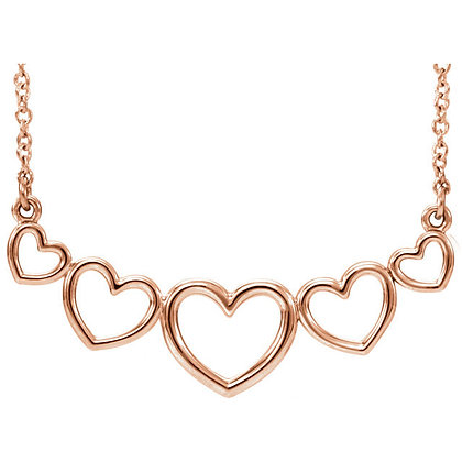 Any Color 14K Gold Graduated Heart Necklace