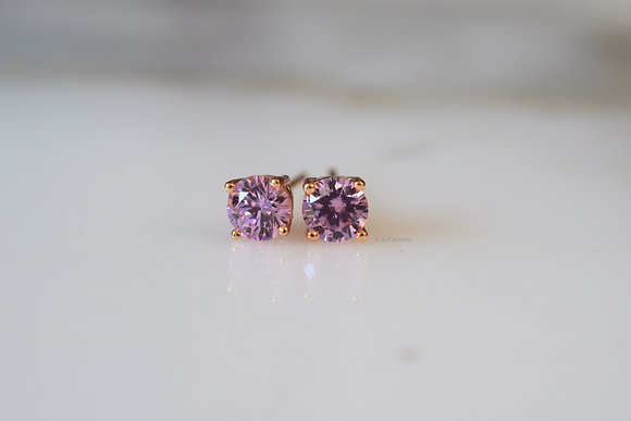 Rose Gold Plated CZ Pink Studs