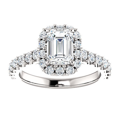 Any Color 14K Gold Emerald Cut White Sapphire Engagement Ring- Has Band