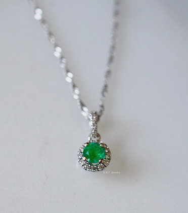 14K White Gold Diamond And Emerald Halo Pendant With Chain
