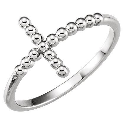 14K White, Yellow, Or Rose  Sideways Cross Ring