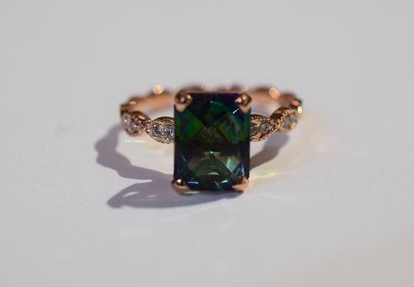 14K Rose Gold Mystic Topaz And Diamond Ring- Has Matching Band