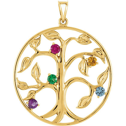 14K White Or Yellow Family Birthstone Necklace