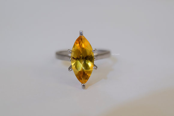 Matte 14K White Gold 2.26 Carat Marquise Shape Citrine Solitaire Engagement Ring